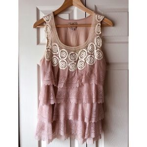 Anthropologie pink scalloped lace top size small